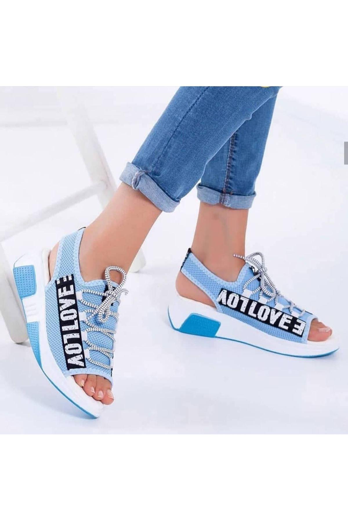 Lover Çelik Örgü Yazı Detay Sandalet Mavi