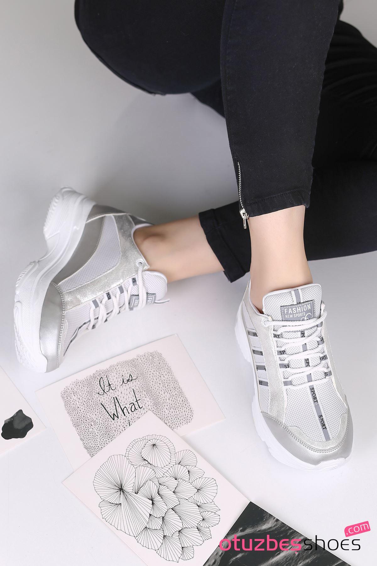 Fashion 500 Mat Deri Yazı Detay Spor Ayakkabı Gümüş