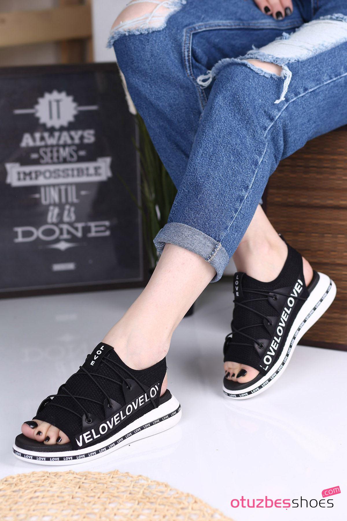 Flor Lastik Detay Likralı Triko Kadın Sandalet Siyah