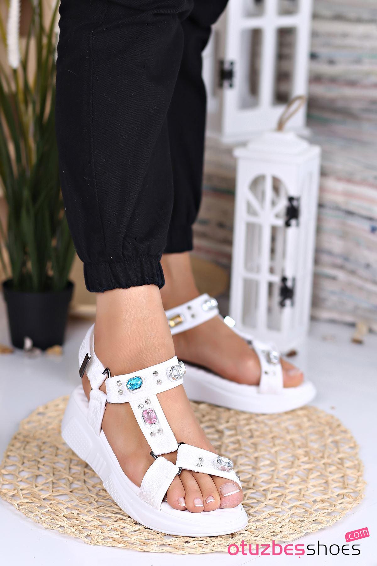 Rüya Taş Detay Kadın Sandalet Beyaz