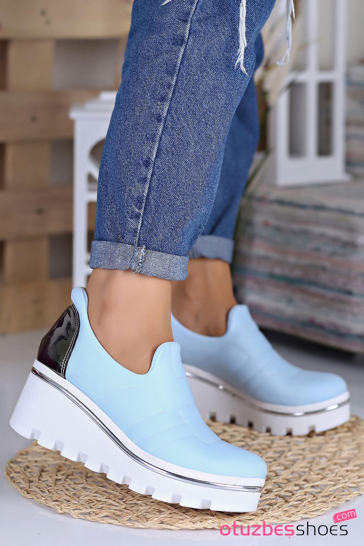 Anna Dalgıç Kumaş  Dolgu Topuk Ayakkabı Bebe Mavi