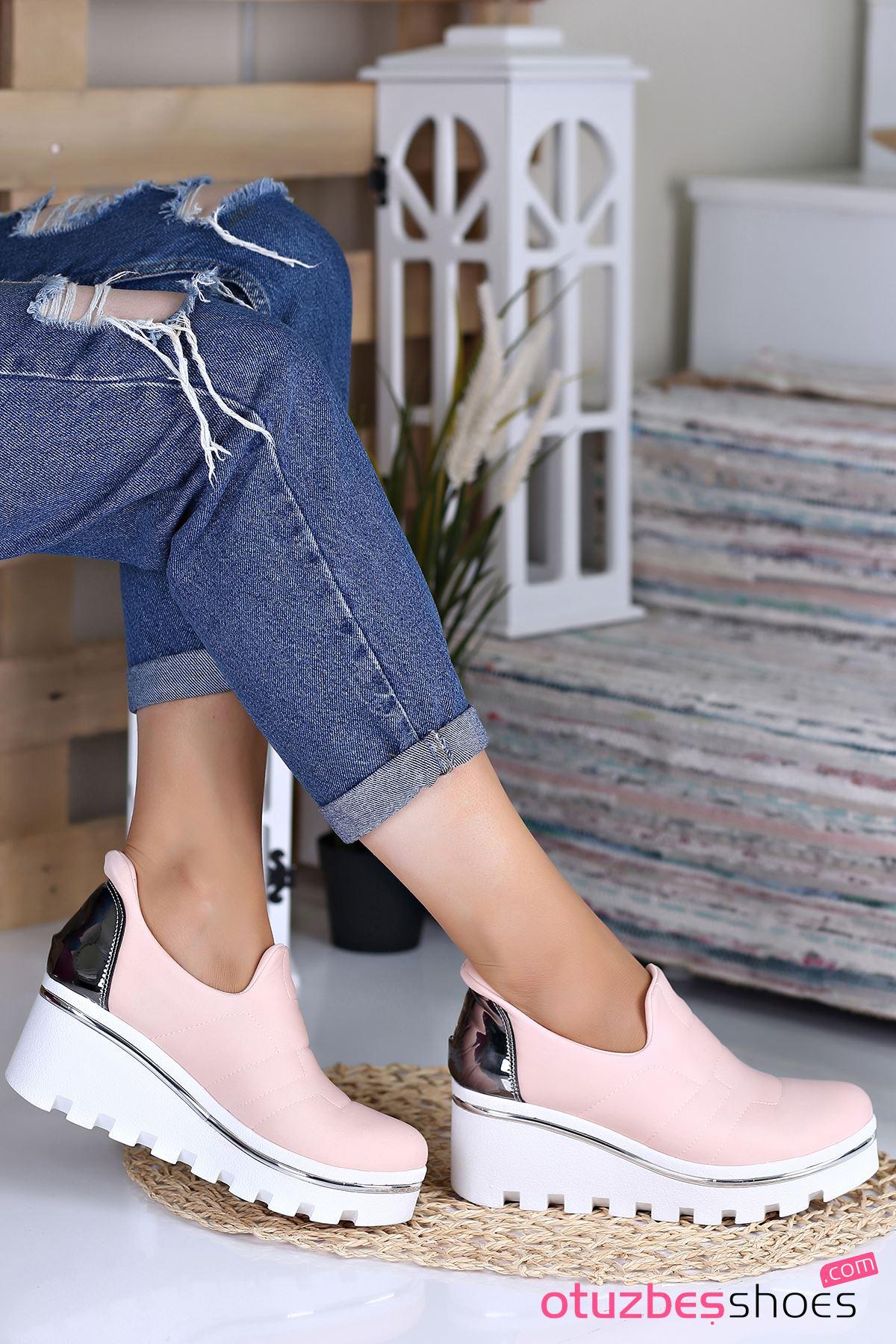 Anna Dalgıç Kumaş  Dolgu Topuk Ayakkabı Pudra