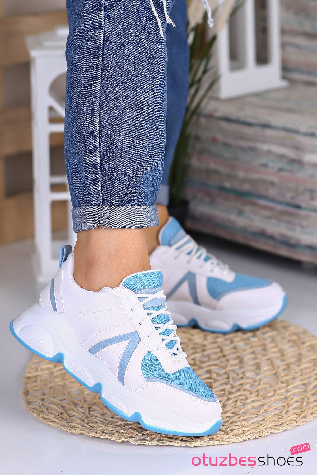 Serenay Mat Deri Kadın Spor Ayakkabı Bebe Mavi