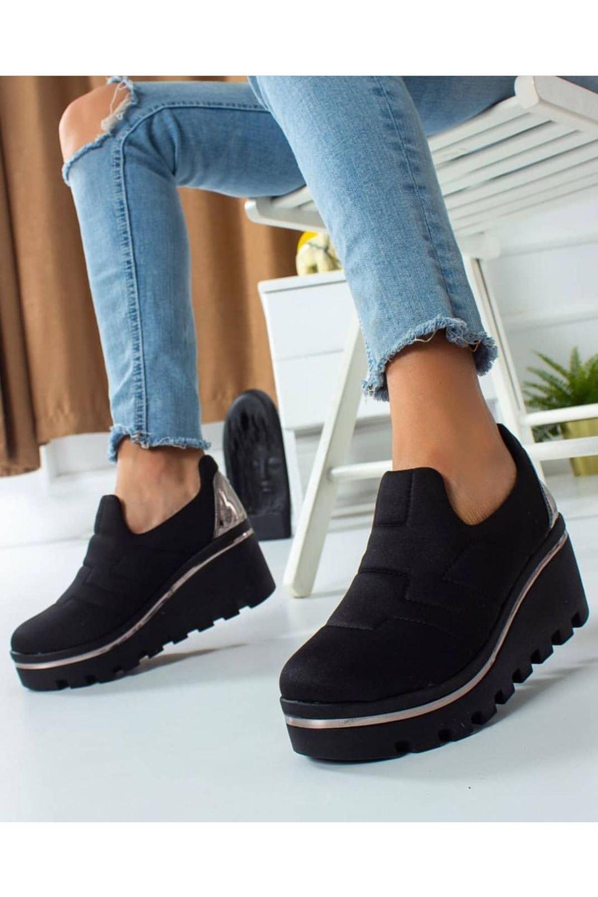 Anna Dalgıç Kumaş  Dolgu Topuk Ayakkabı Siyah