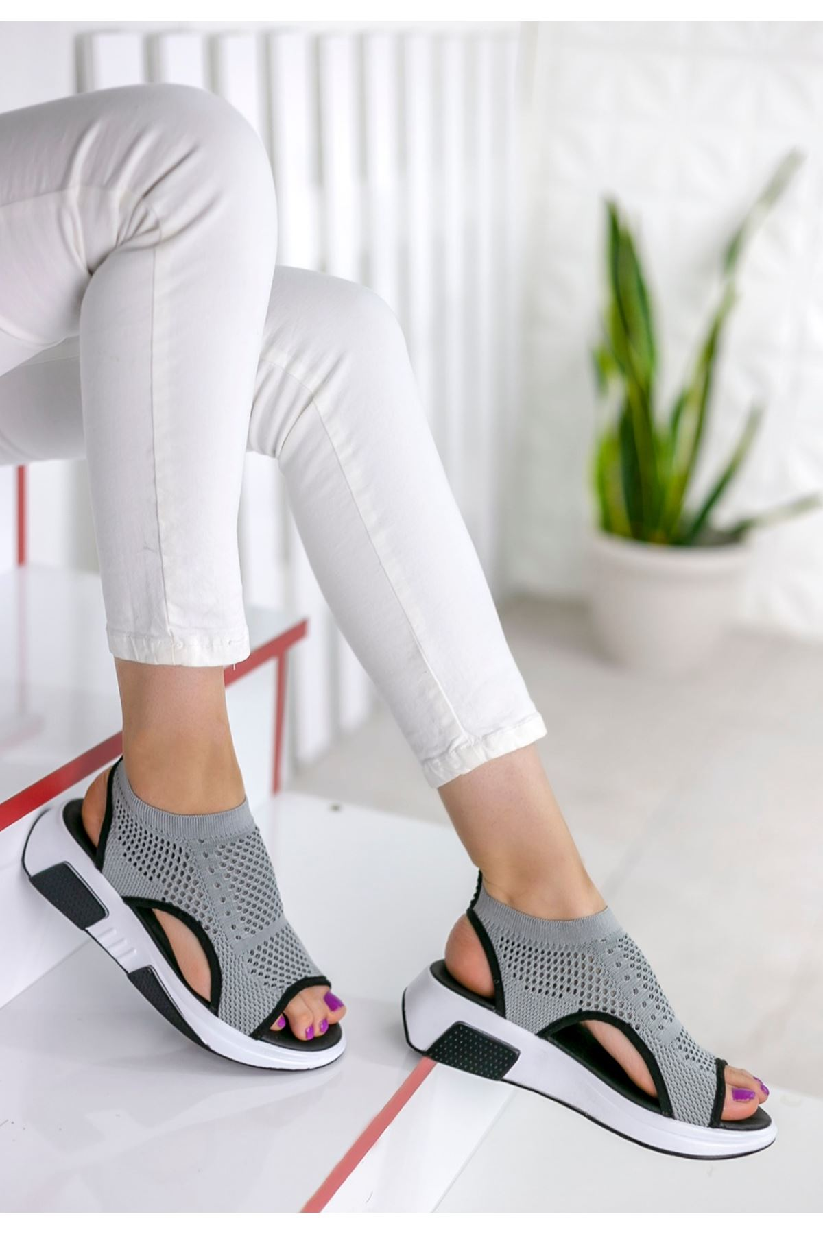 Ashley Çelik Örgü Triko Sandalet Gri