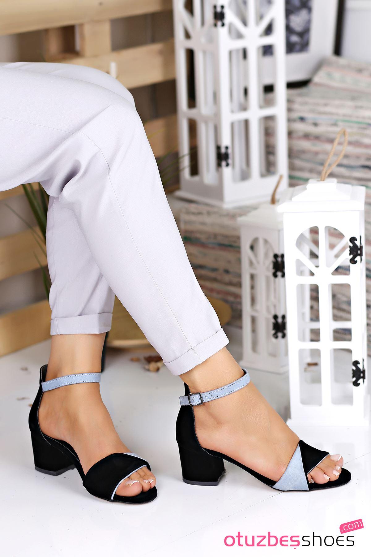 Mellow Bebek Mavi Süet Detay Topuklu Kadın Ayakkabı Siyah Süet