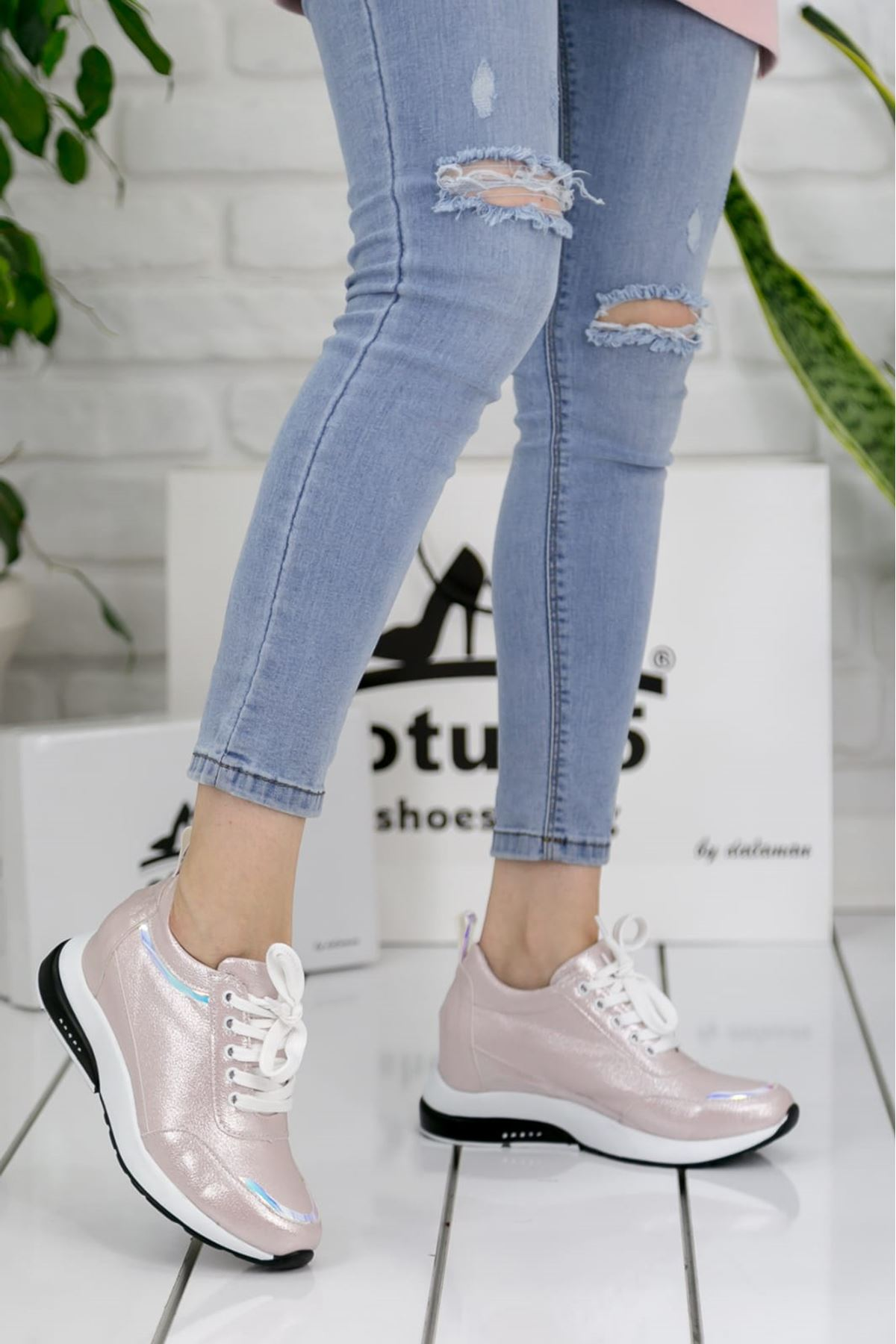 For514 Pudra Simli Bağcık Detaylı Kadın Spor Ayakkabı