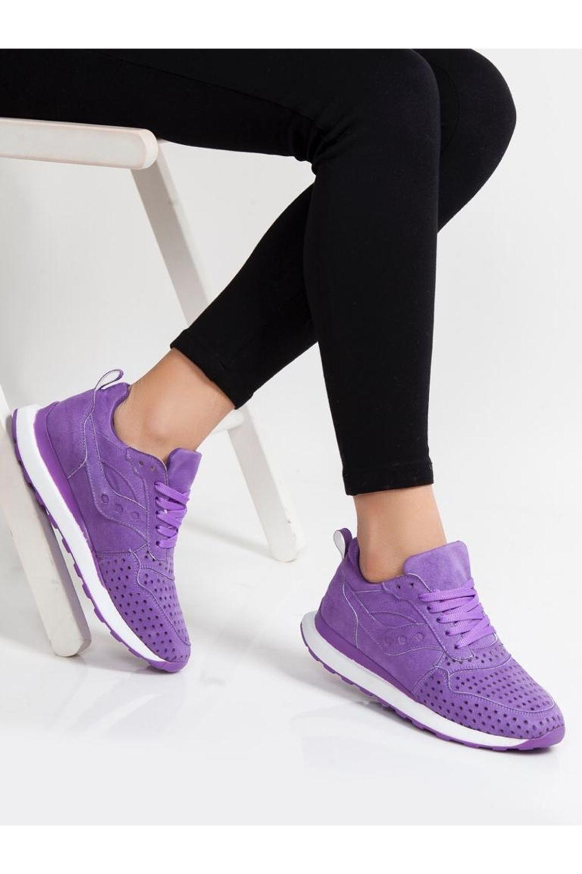 Vira Süet Lazer Kesim Detay Kadın Spor Ayakkabı Mor