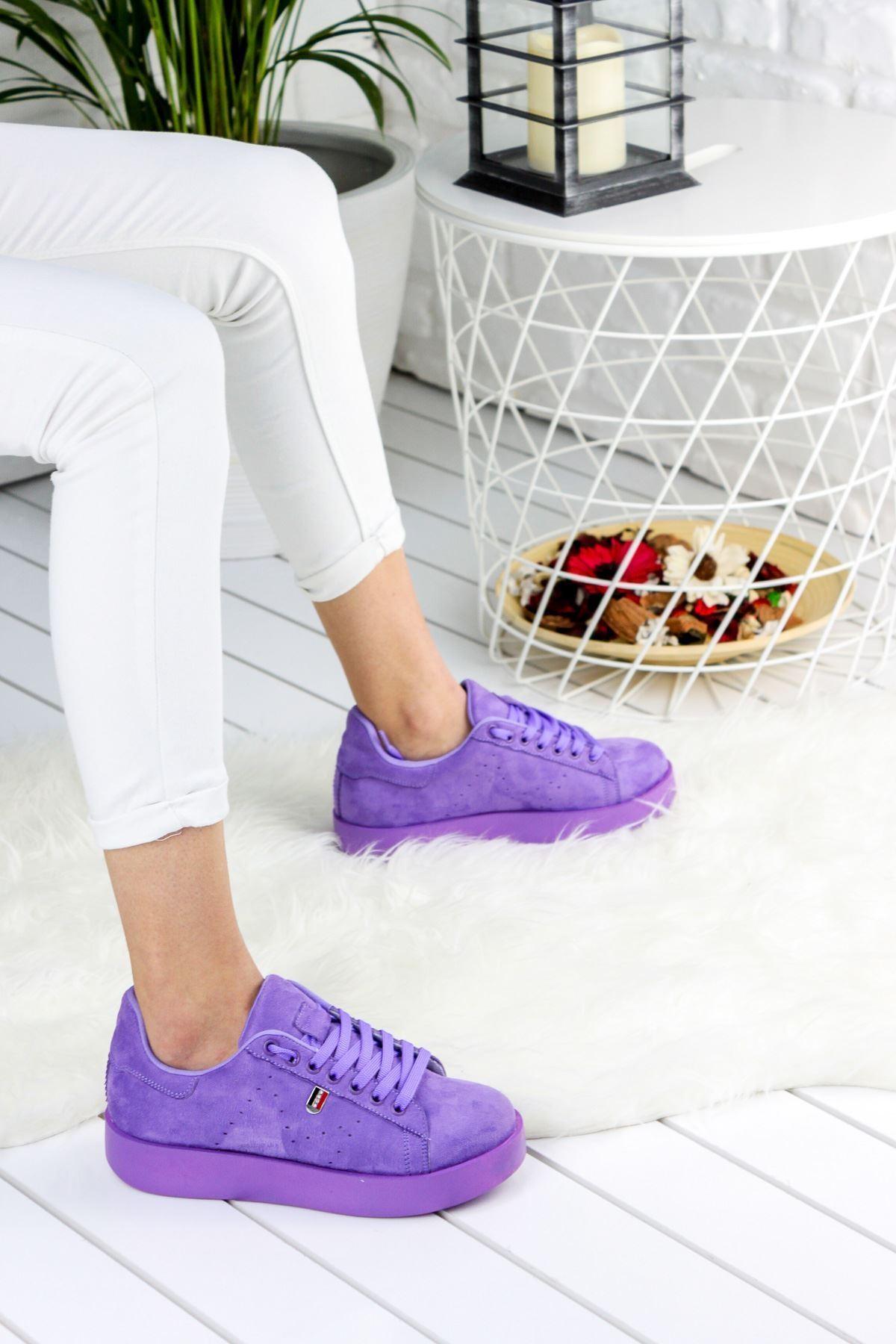 Birsu Süet Kadın Spor Ayakkabı Mor