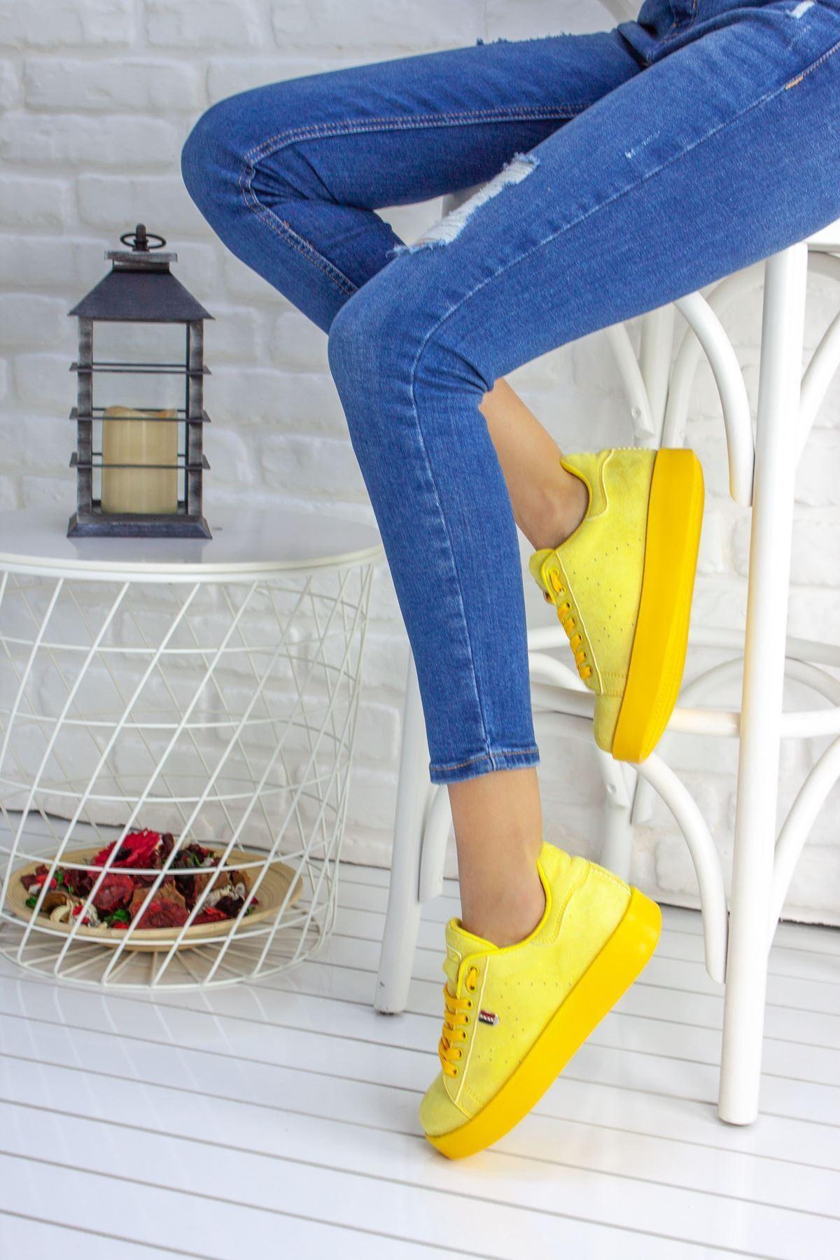 Birsu Süet Kadın Spor Ayakkabı Sarı
