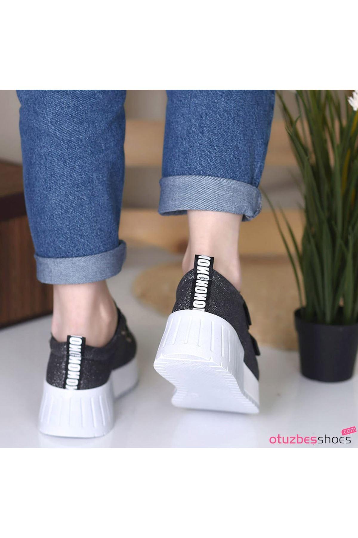 Mosso Simli Cırt Detay Beyaz Taban Platin Spor Ayakkabı