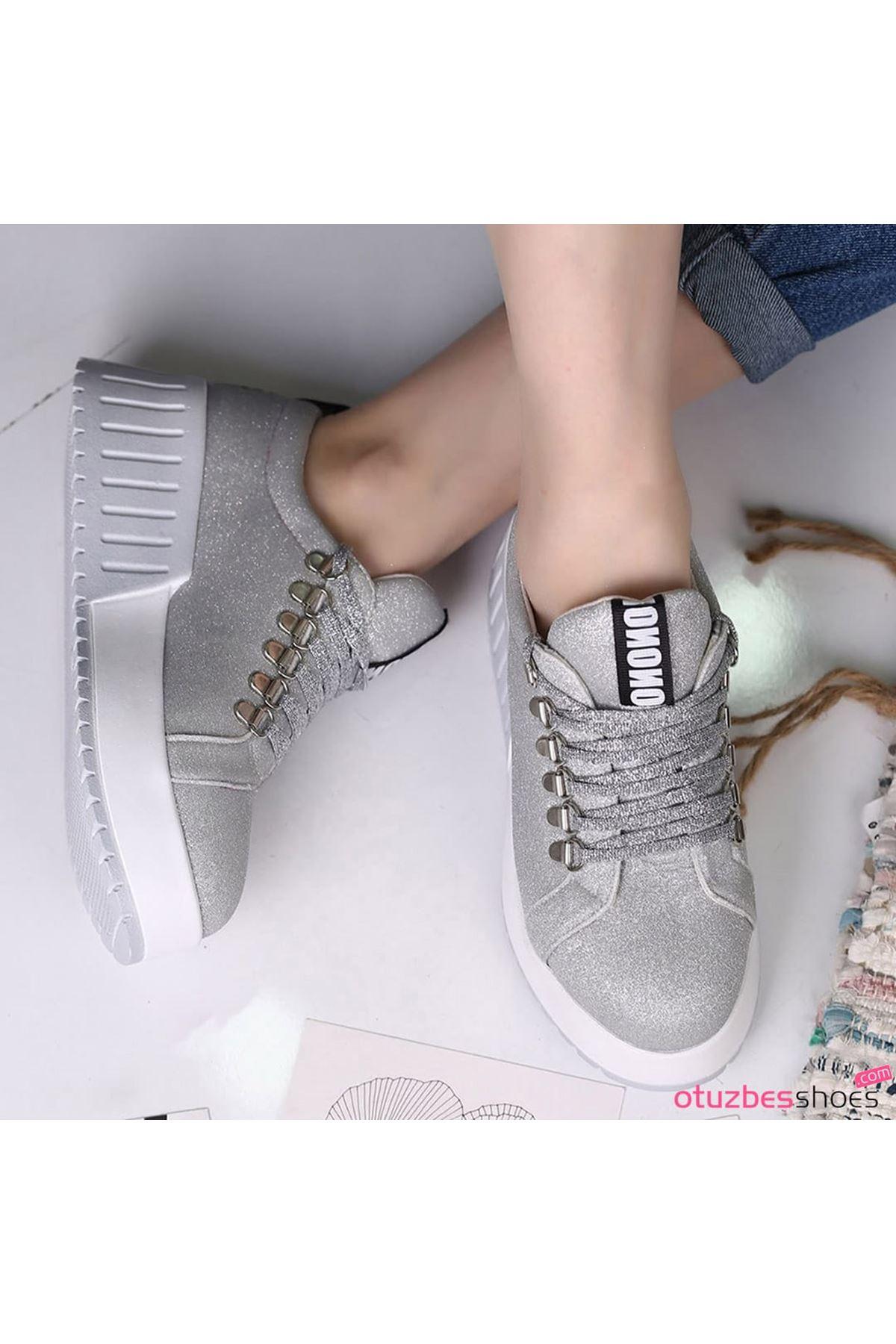 Masha Simli Bağcık Detay Beyaz Taban Gümüş Spor Ayakkabı
