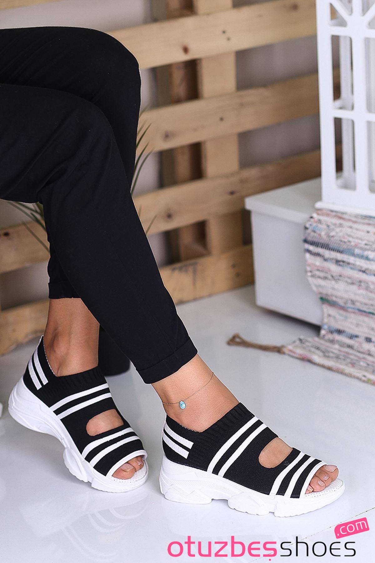 Astor Triko Çizgi Detaylı Kadın Sandalet Siyah