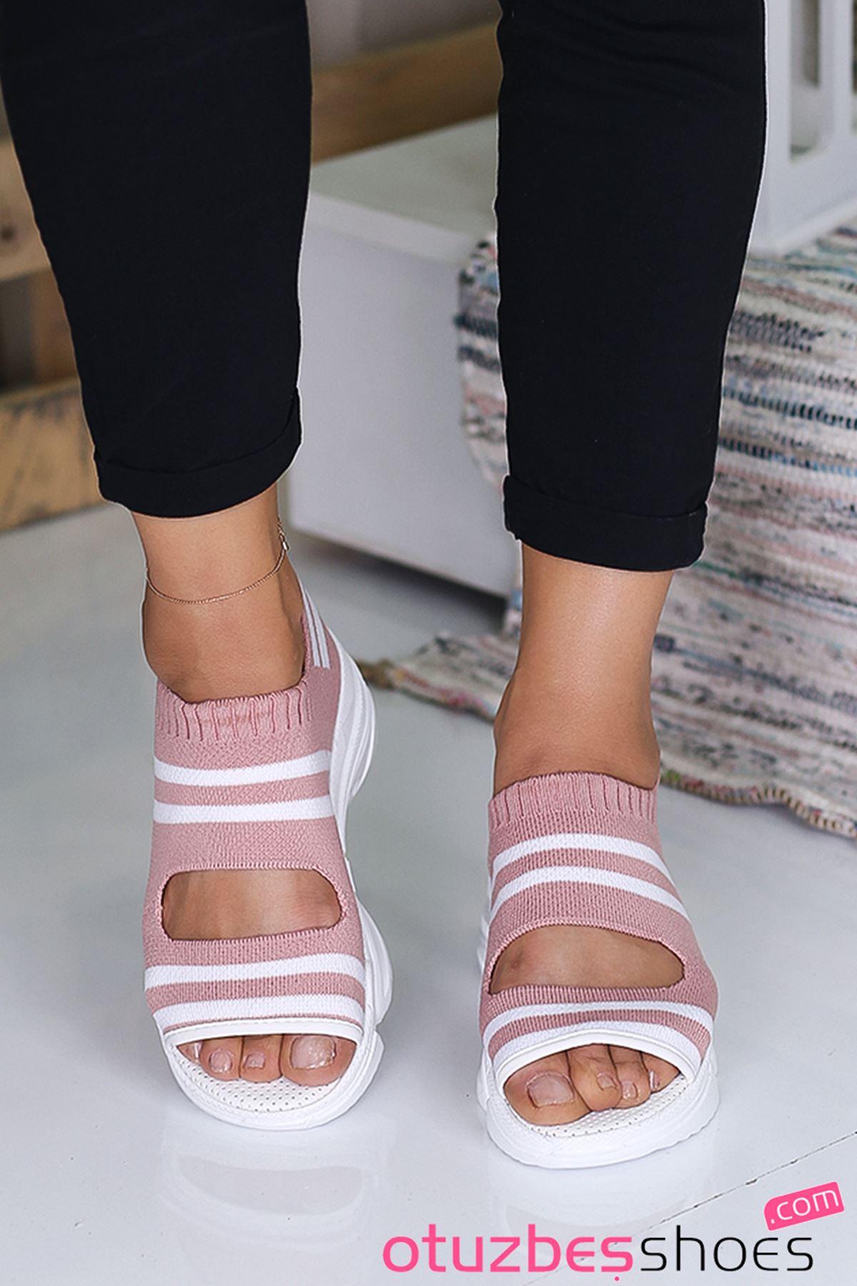 Astor Triko Çizgi Detaylı Kadın Sandalet Pembe