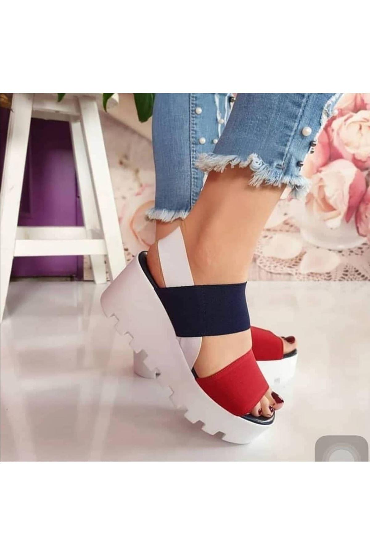 Amy Lastik Detay Dolgu Topuk Ayakkabı Kırmızı-Laci