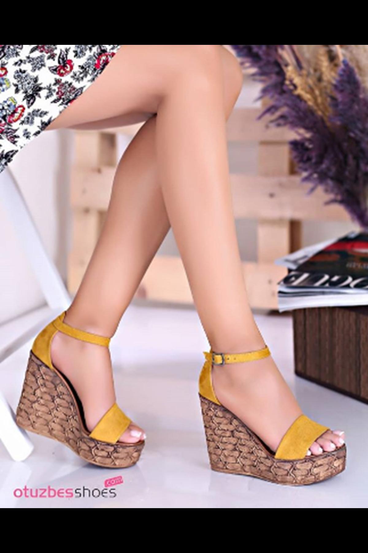 For You Hardal Süet Dolgu Topuk Kadın Ayakkabı