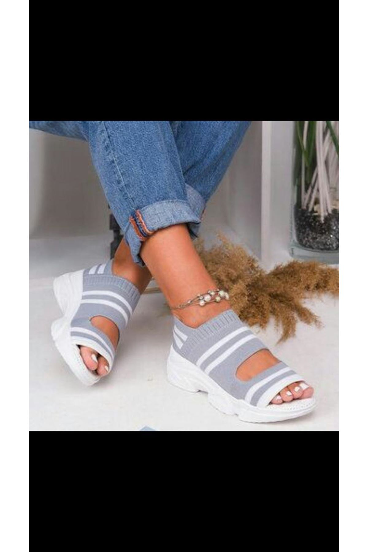 Astor Triko Çizgi Detaylı Kadın Sandalet Gri