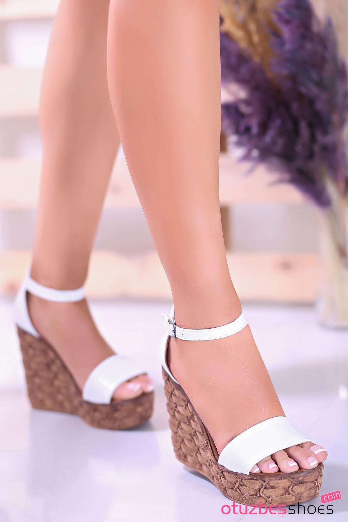 For You Beyaz Dolgu Topuk Kadın Ayakkabı