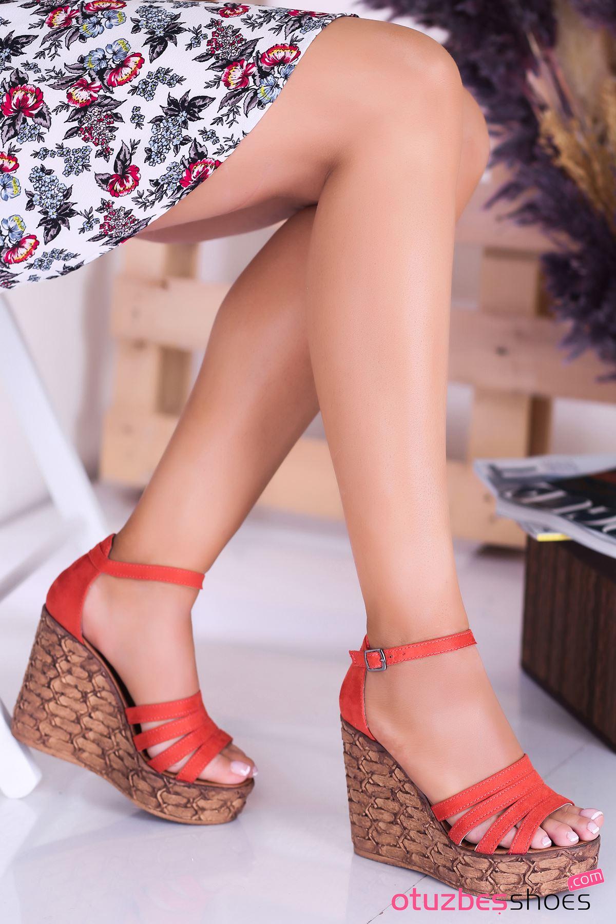 Alenz Oranj Süet Dolgu Topuk Kadın Ayakkabı