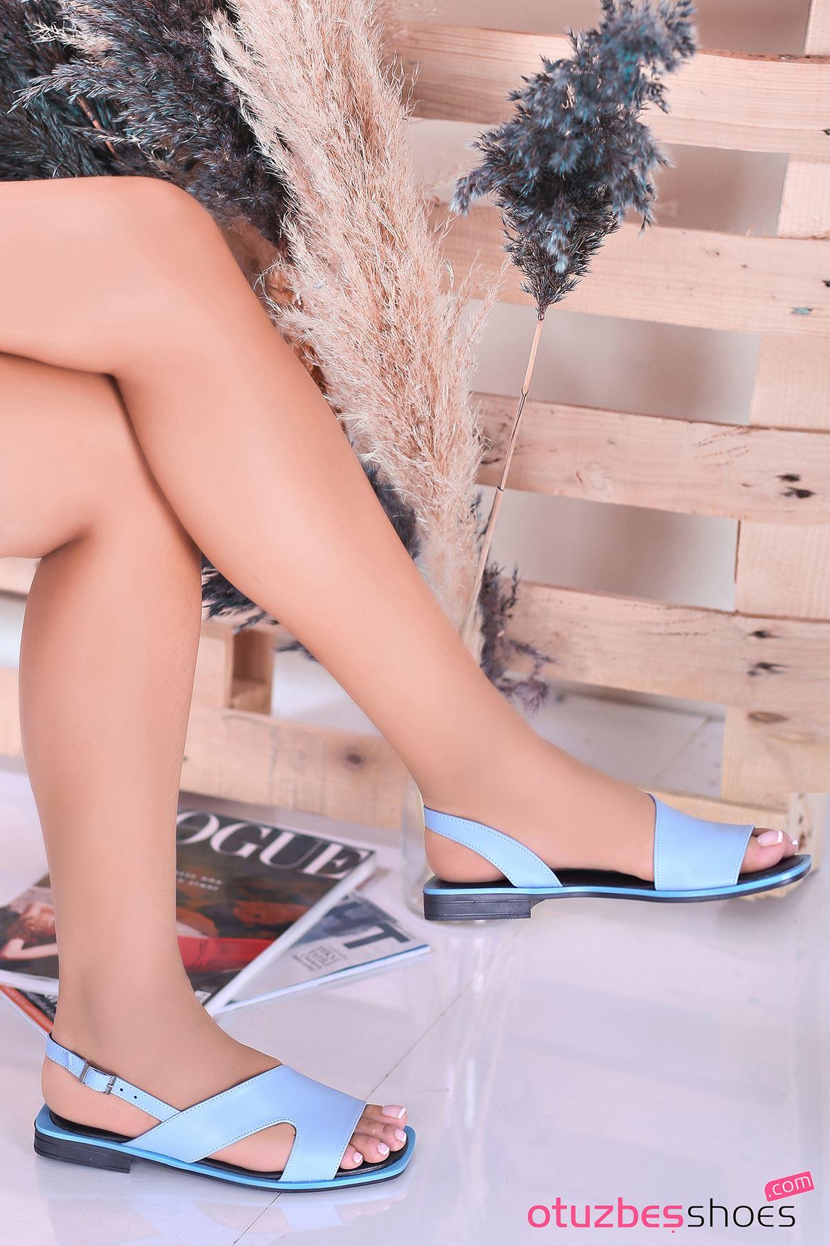 Most Mat Deri Kadın Sandalet Bebek Mavi