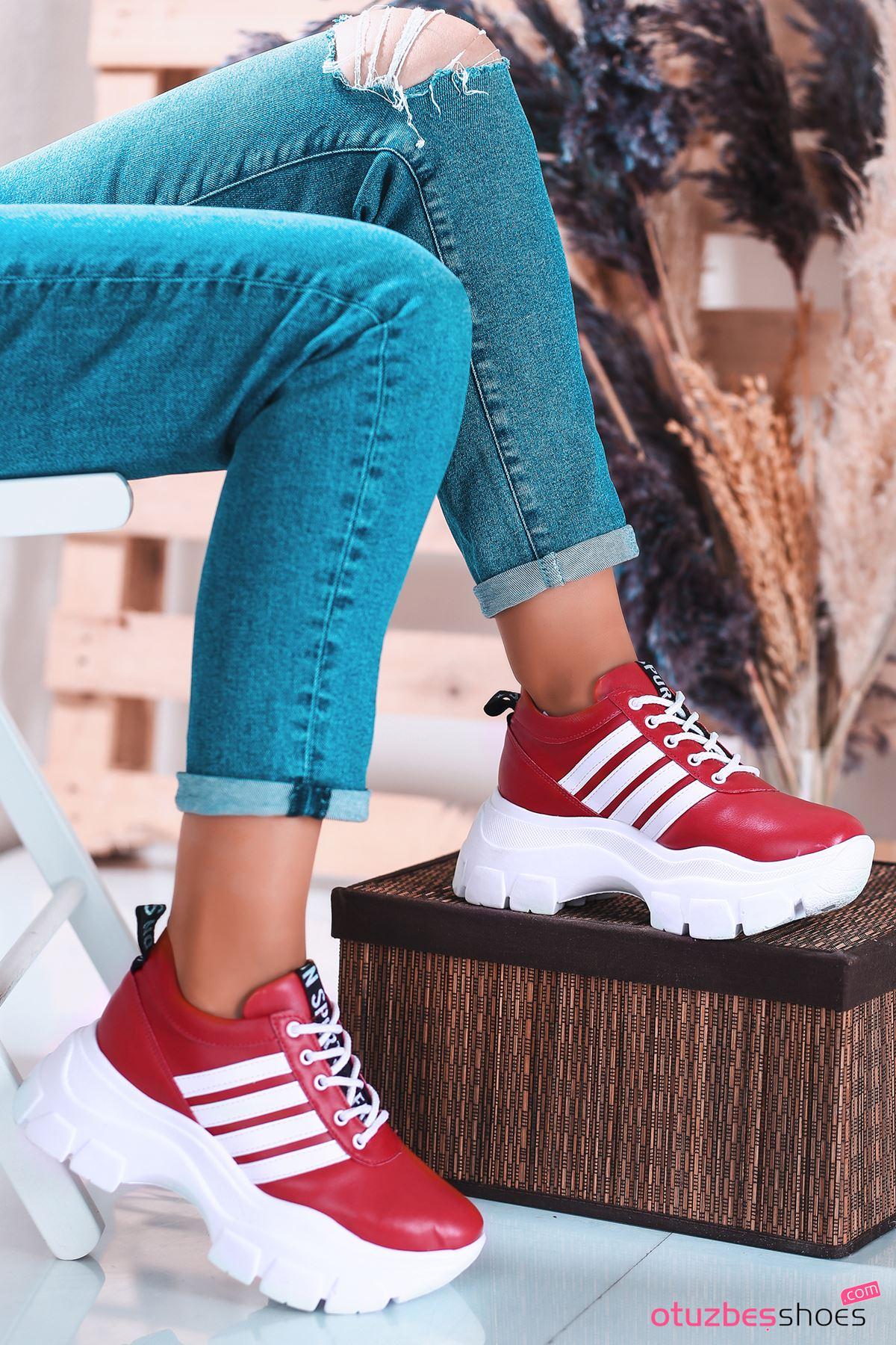 Rapso Mat Deri Yazı Detay Spor Ayakkabı Kırmızı