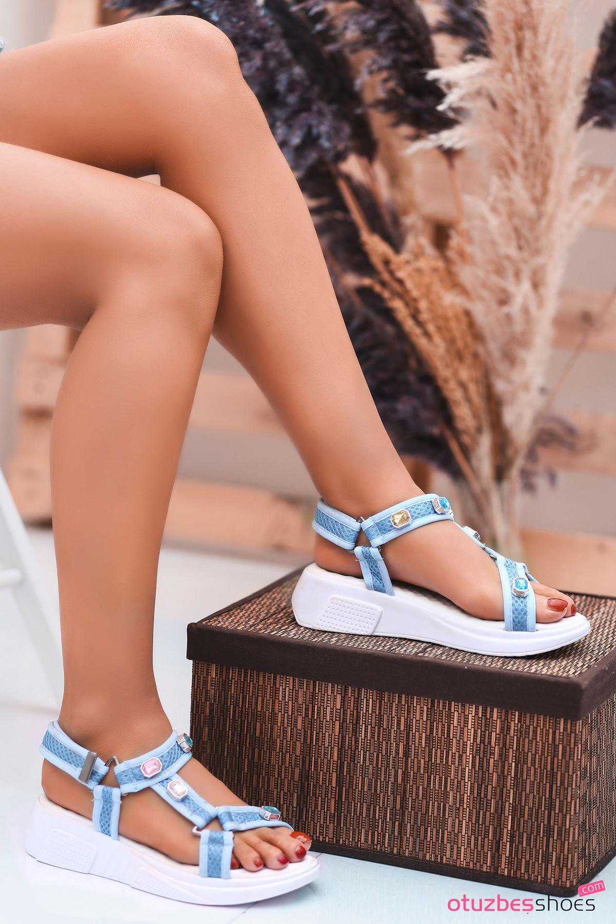 Rüya Taş Detay Kadın Sandalet Bebek Mavi
