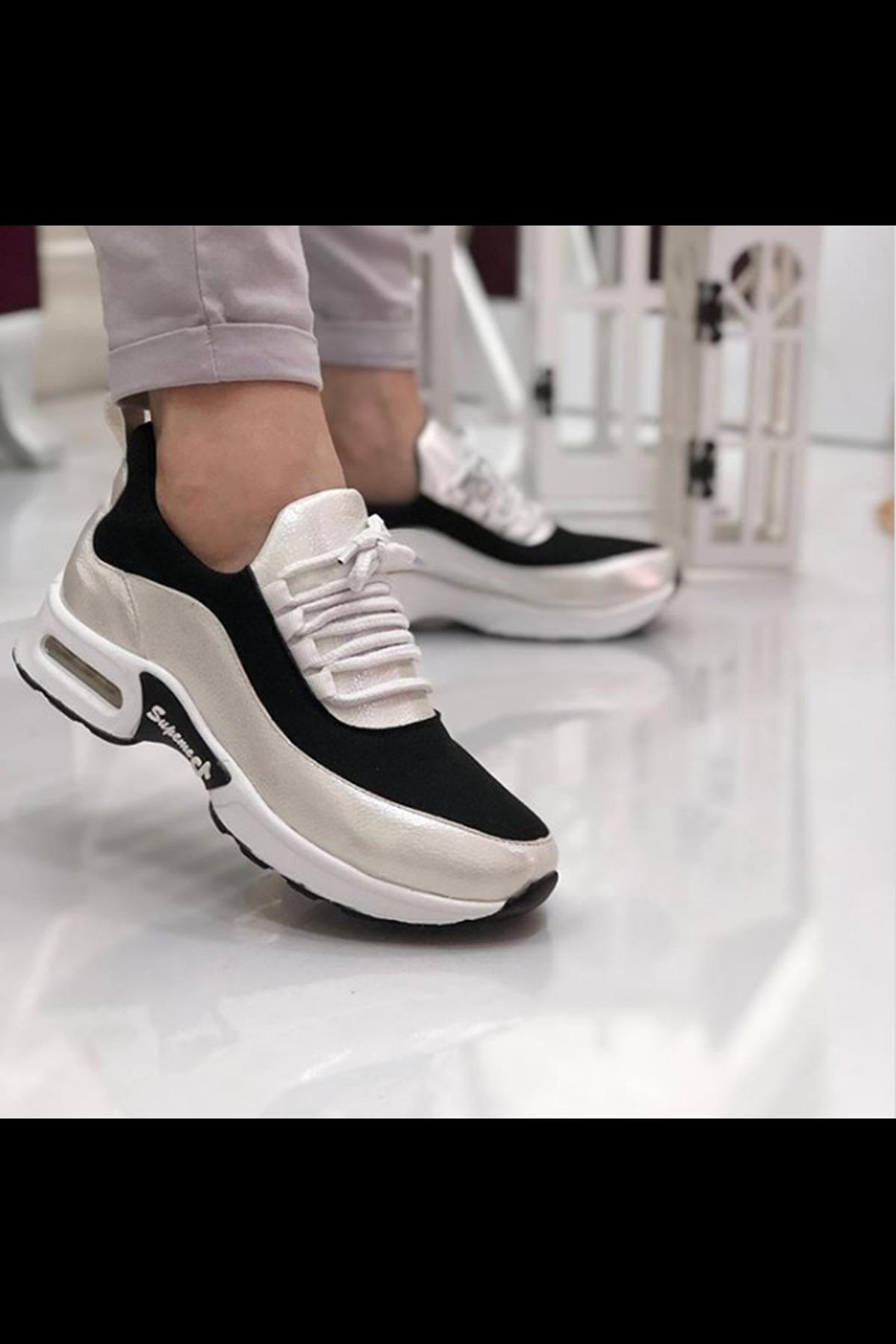 Lexi Hava Tabanlı Dalgıç Kumaş Detay Spor Ayakkabı Metalik Beyaz