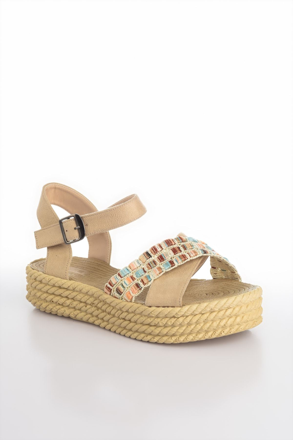Işıl Süet Renkli Çapraz Detay Kadın Sandalet Ten