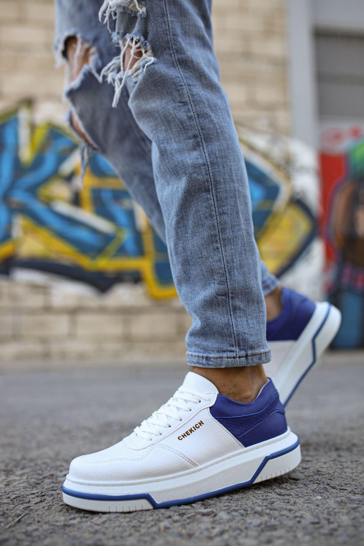Chekich CH075 İpekyol Beyaz Taban Erkek Ayakkabı BEYAZ / SAX MAVİ