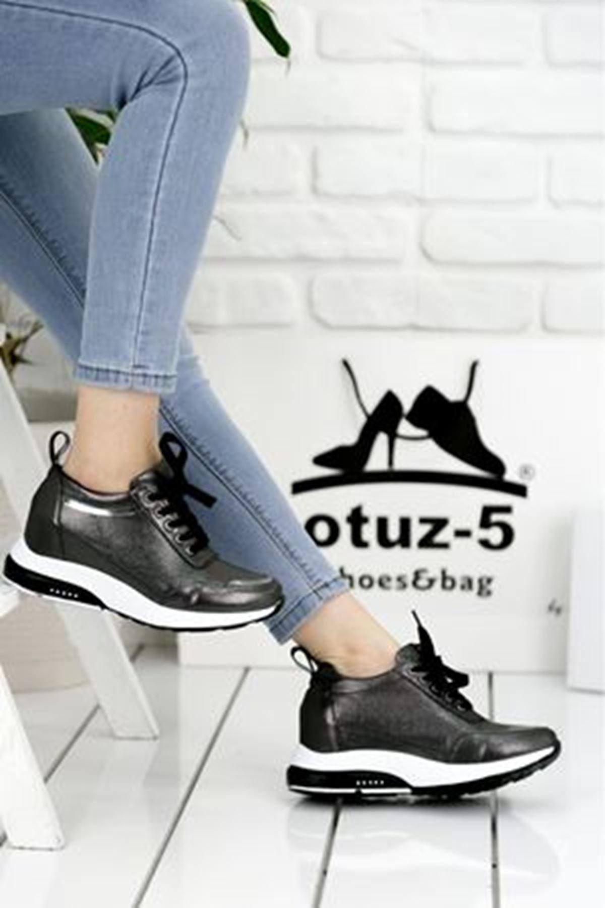 For514 Platin Simli Bağcık Detaylı Kadın Spor Ayakkabı
