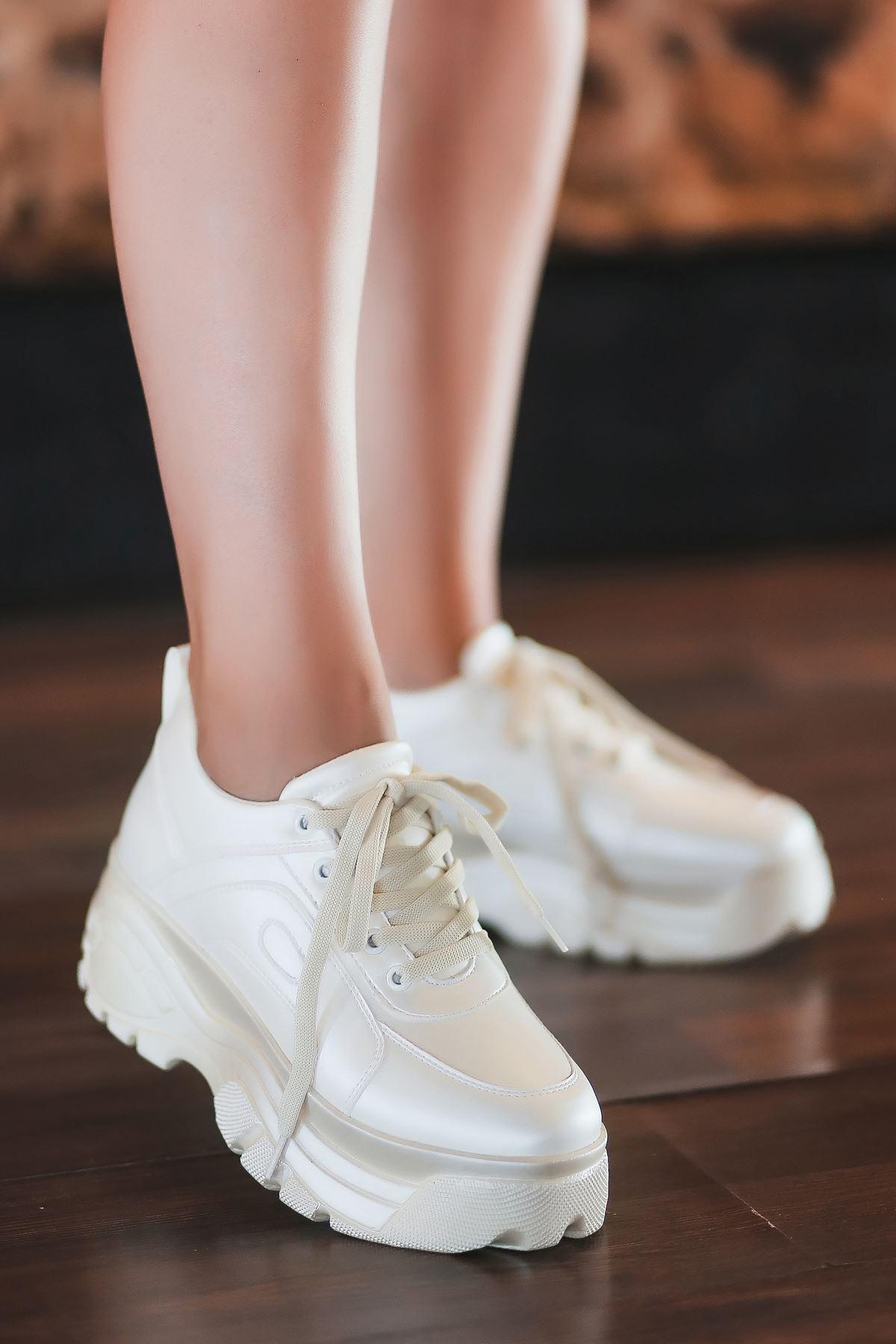 Agnes Mat Deri Kalın Taban Spor Ayakkabı Sedef Beyaz