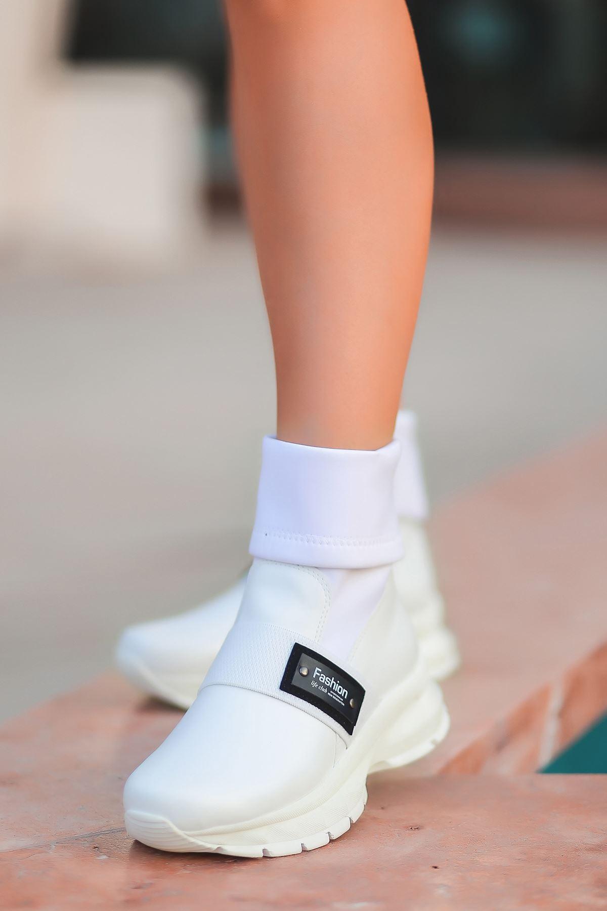 Agura 103 Beyaz Kadın Dalgıç Kumaş Detaylı Bot