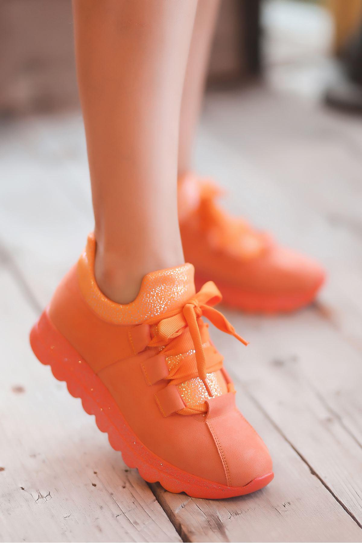 Arissa Turuncu Bağcık Detay Kadın Spor Ayakkabı