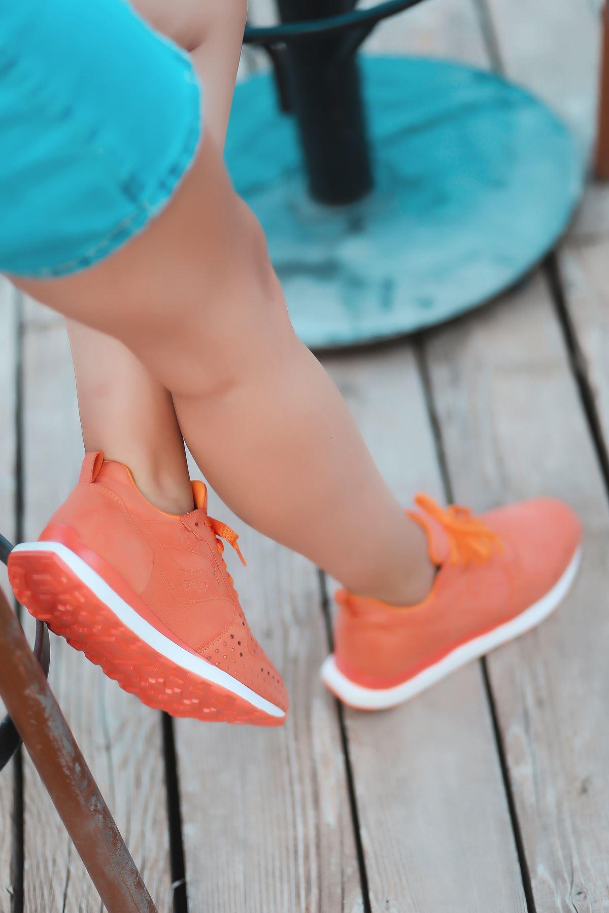 Vira Süet Lazer Kesim Detay Kadın Spor Ayakkabı Turuncu