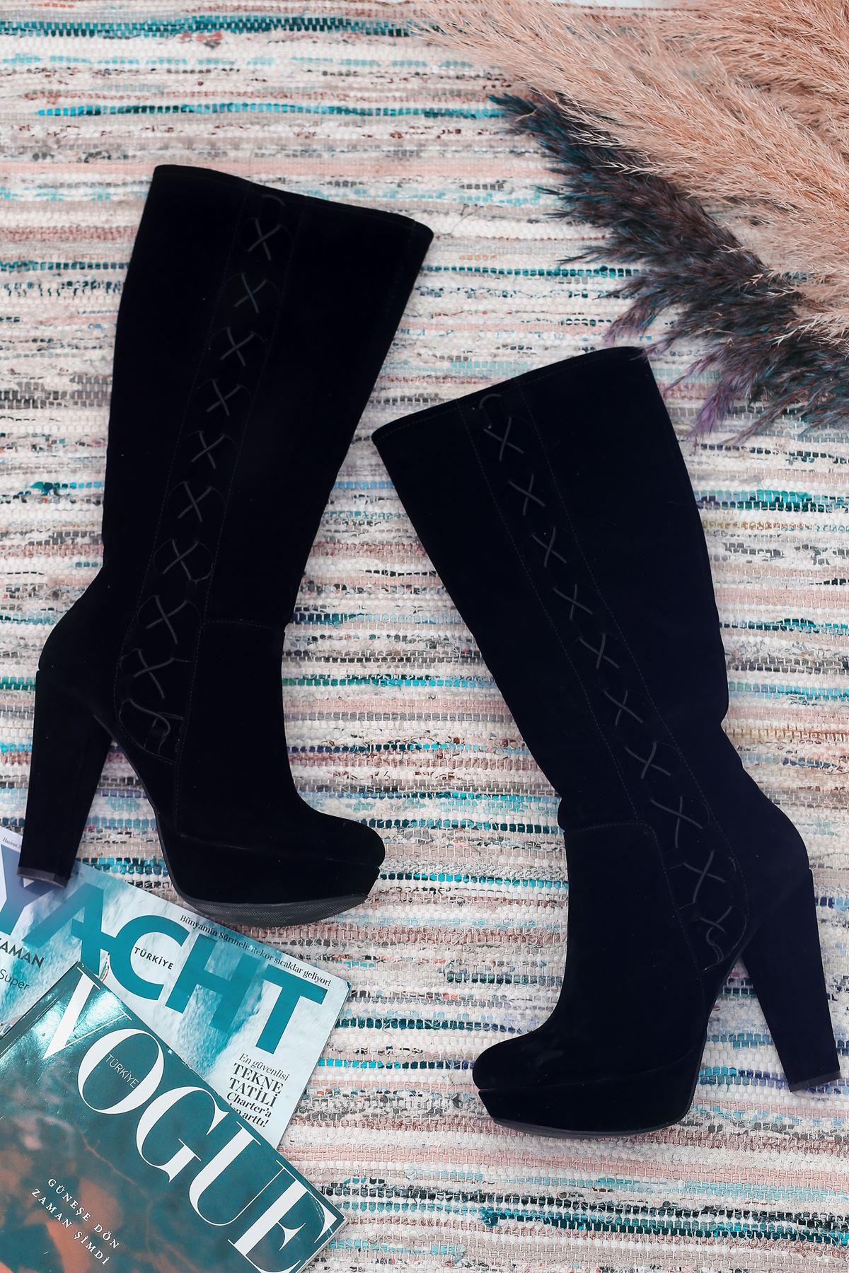 Rayna Mat Deri İp Detay Platform Siyah Süet Çizme