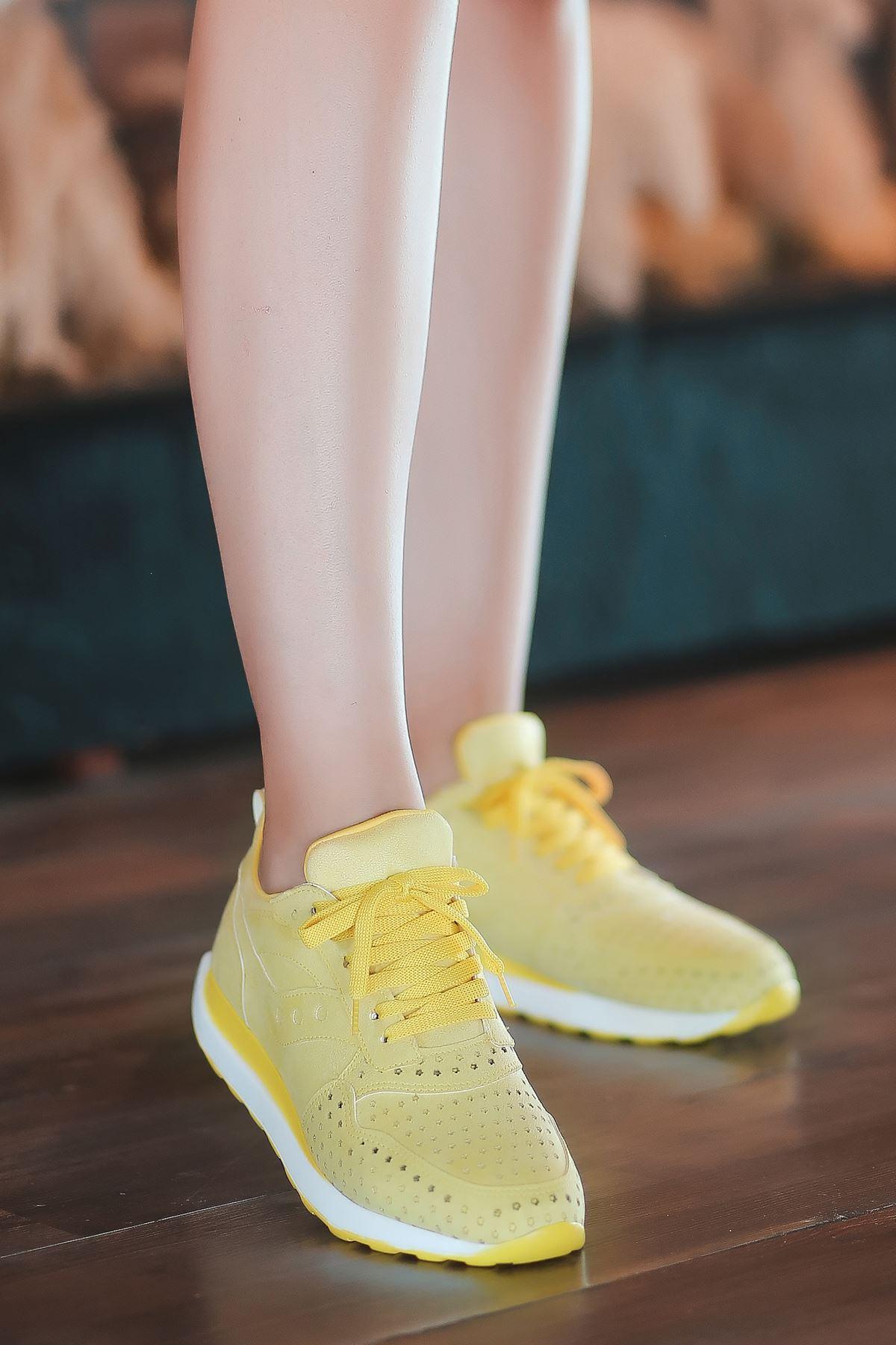Vira Süet Lazer Kesim Detay Kadın Spor Ayakkabı Sarı