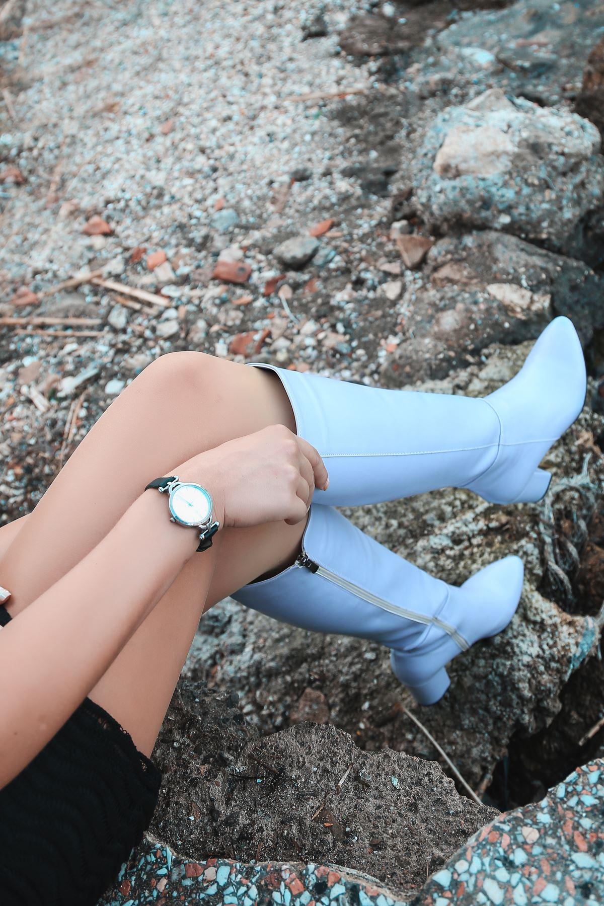 Luisa Bebek Mavi Uzun Kadın Çizme