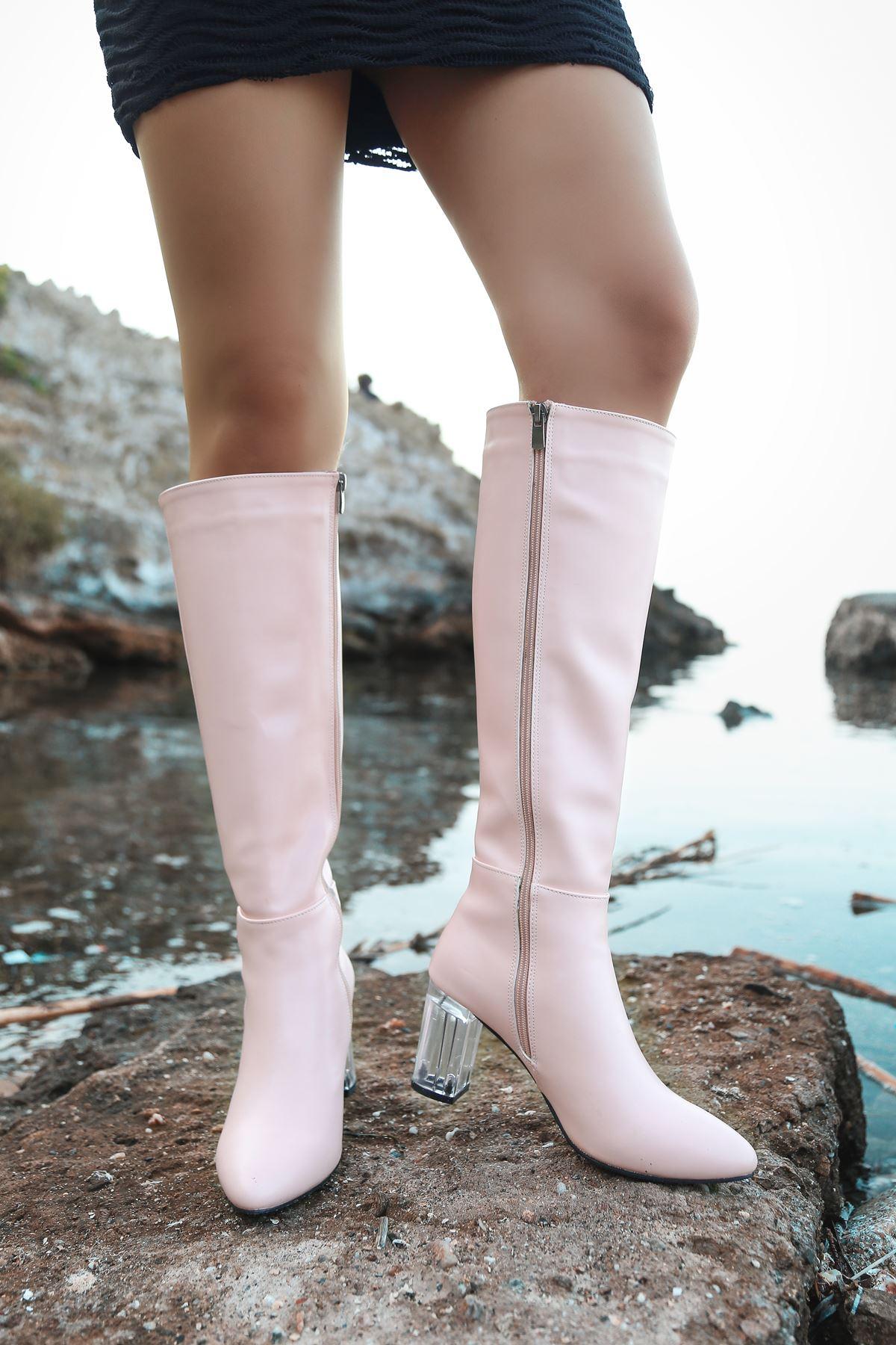 Luisa Şeffaf Topuk Detaylı Pudra Uzun Kadın Çizme