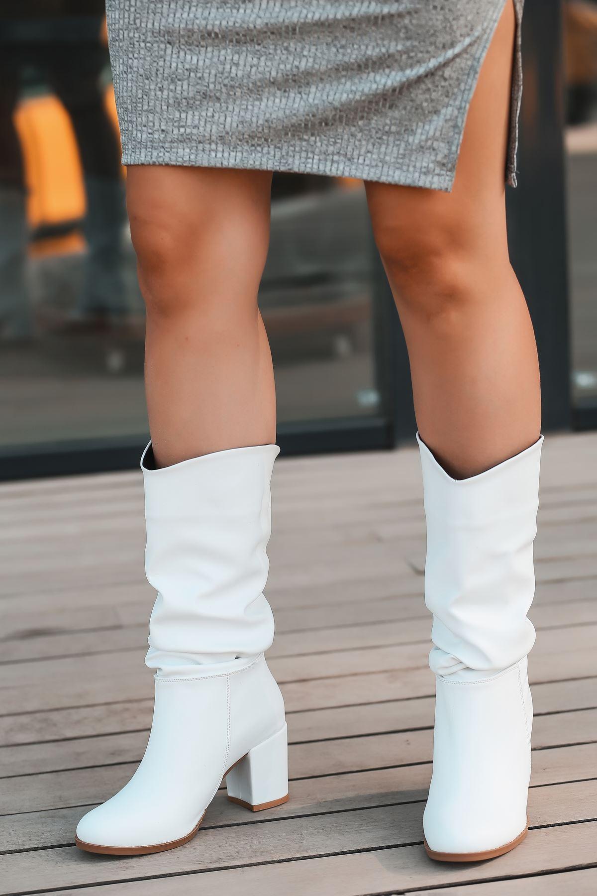 Vivo Körüklü Yüksek Topuklu Beyaz Kadın Çizme