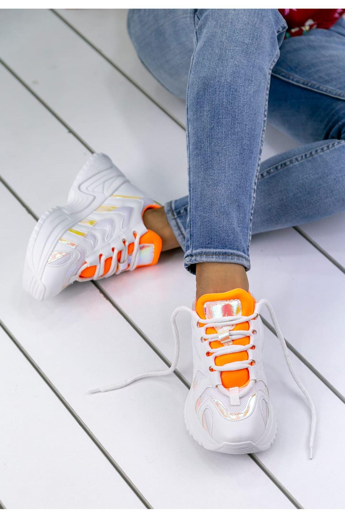 Milo Turuncu Hologram Bağcık Detaylı Kadın Spor Ayakkabı