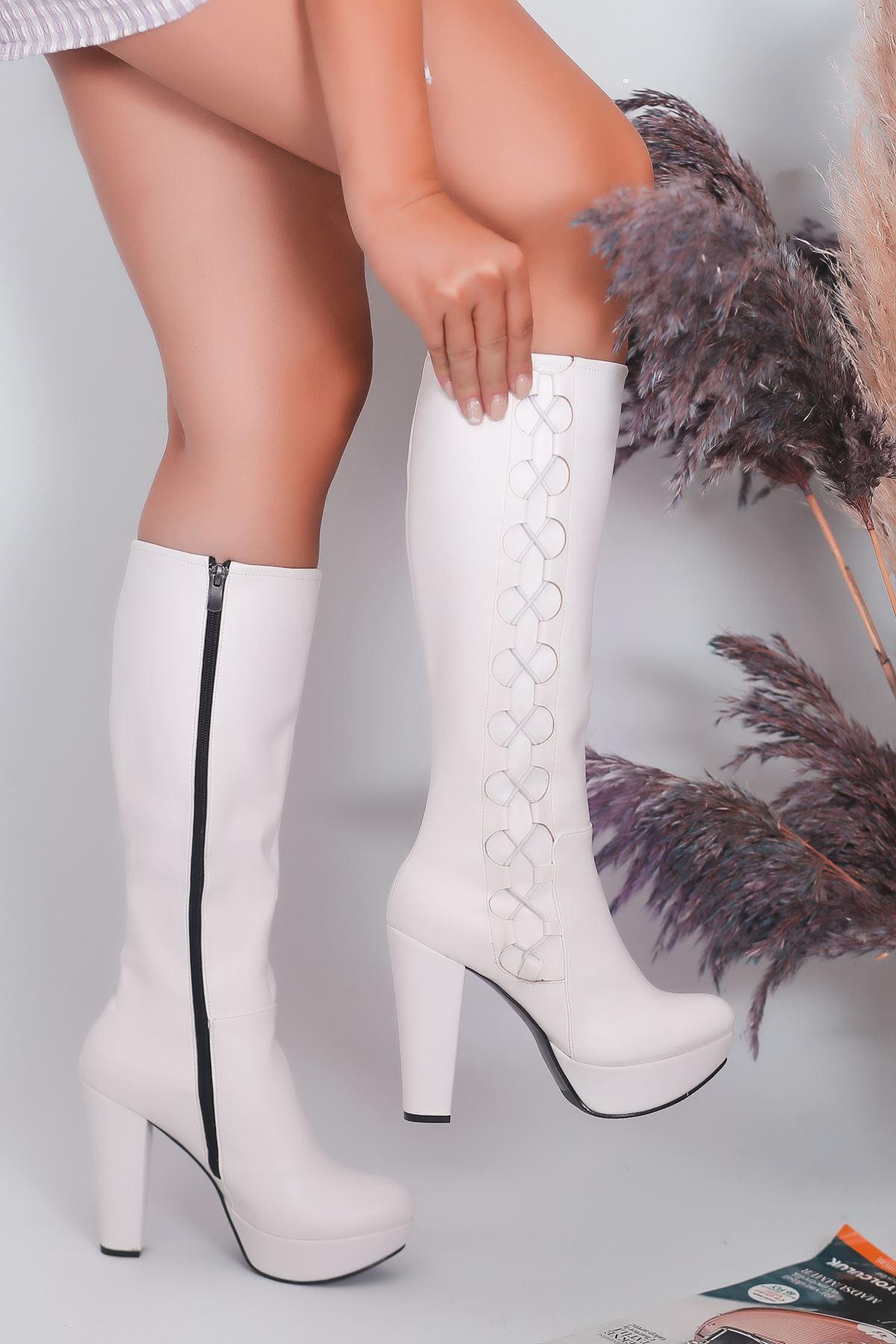 Rayna Mat Deri İp Detay Platform Beyaz Çizme