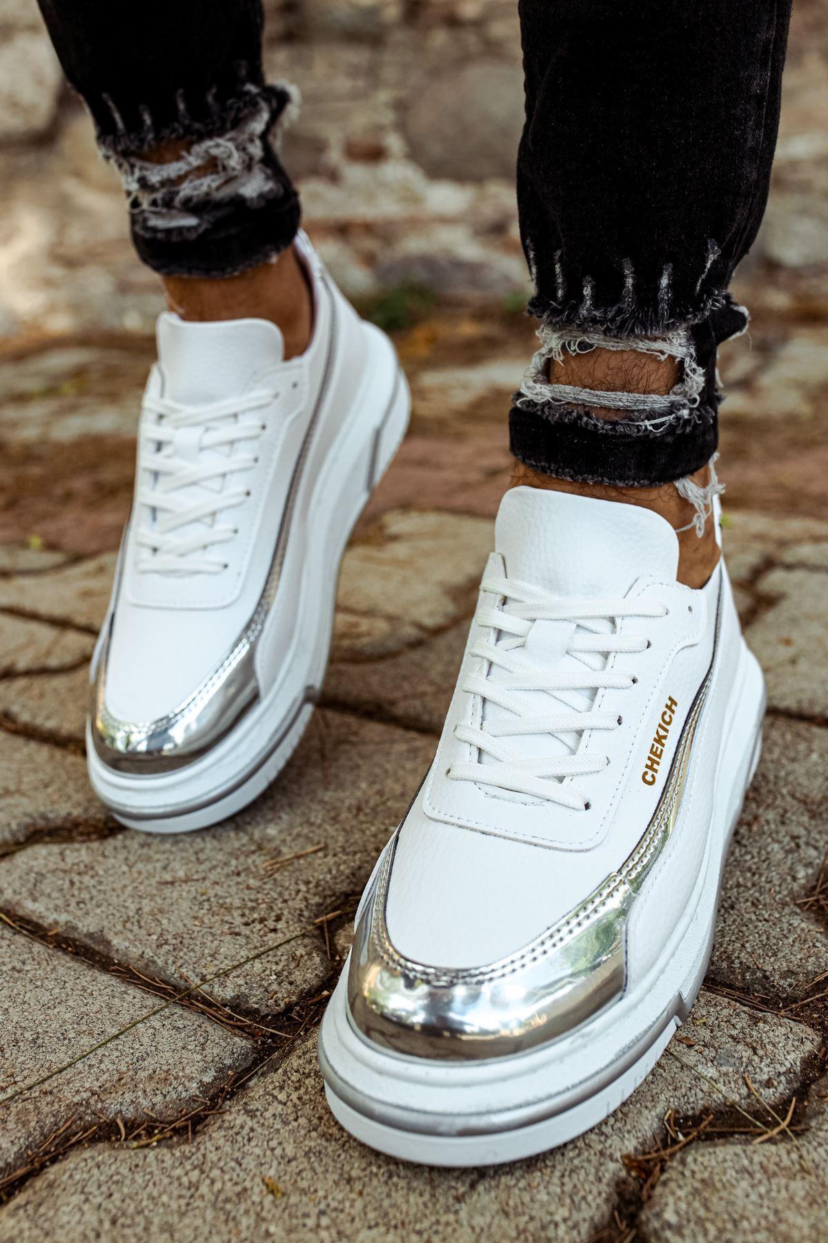 Chekich CH041 BT Erkek Ayakkabı BEYAZ / GÜMÜS
