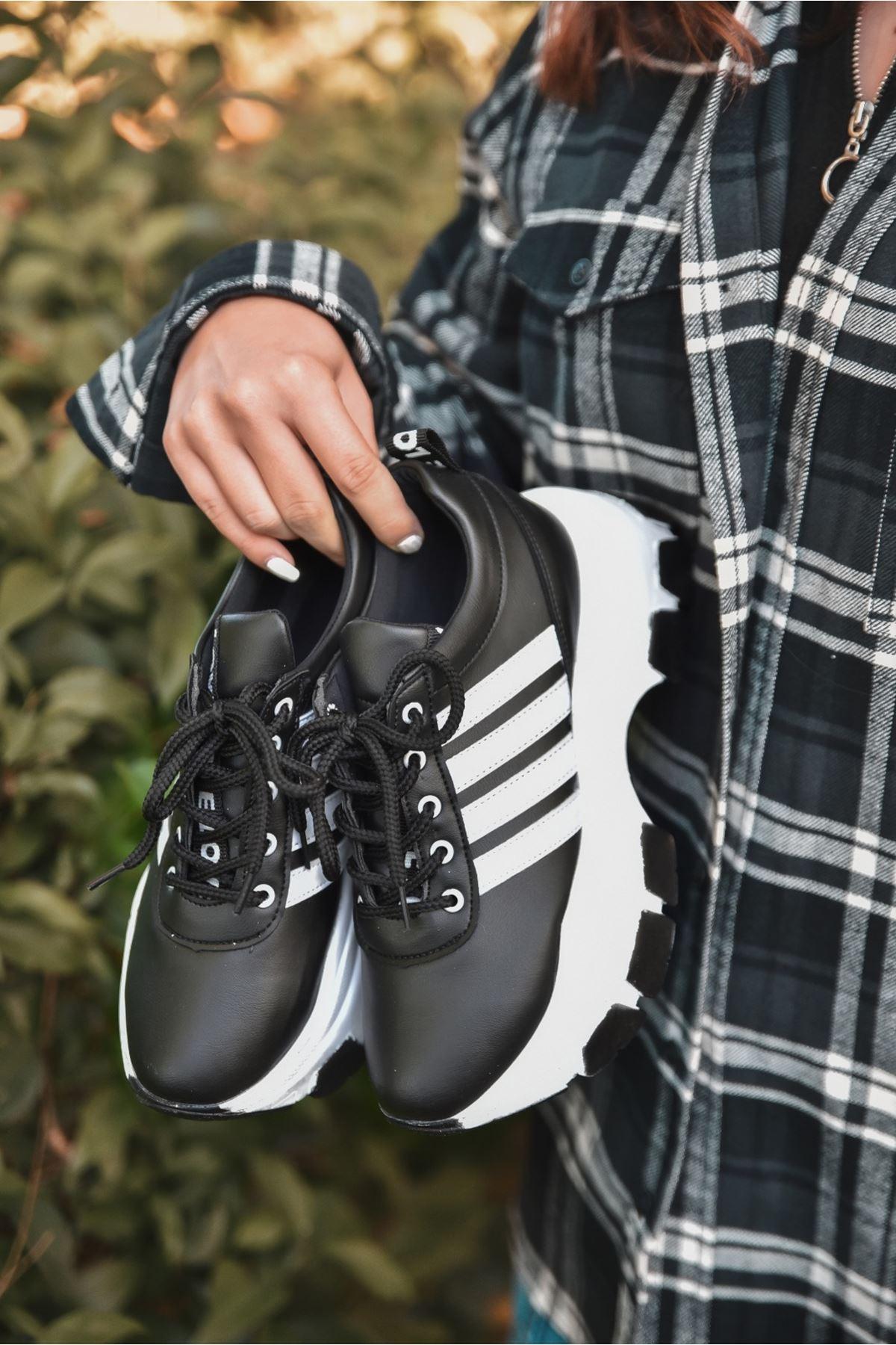Rapso Mat Deri Yazı Detay Spor Ayakkabı Siyah ST