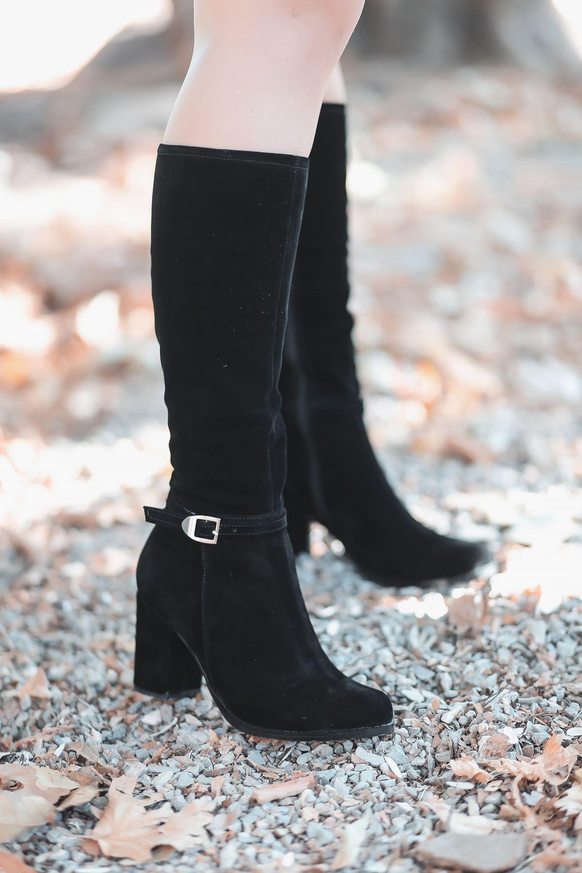 Madil Toka Detay Kadın Çizme Siyah Süet