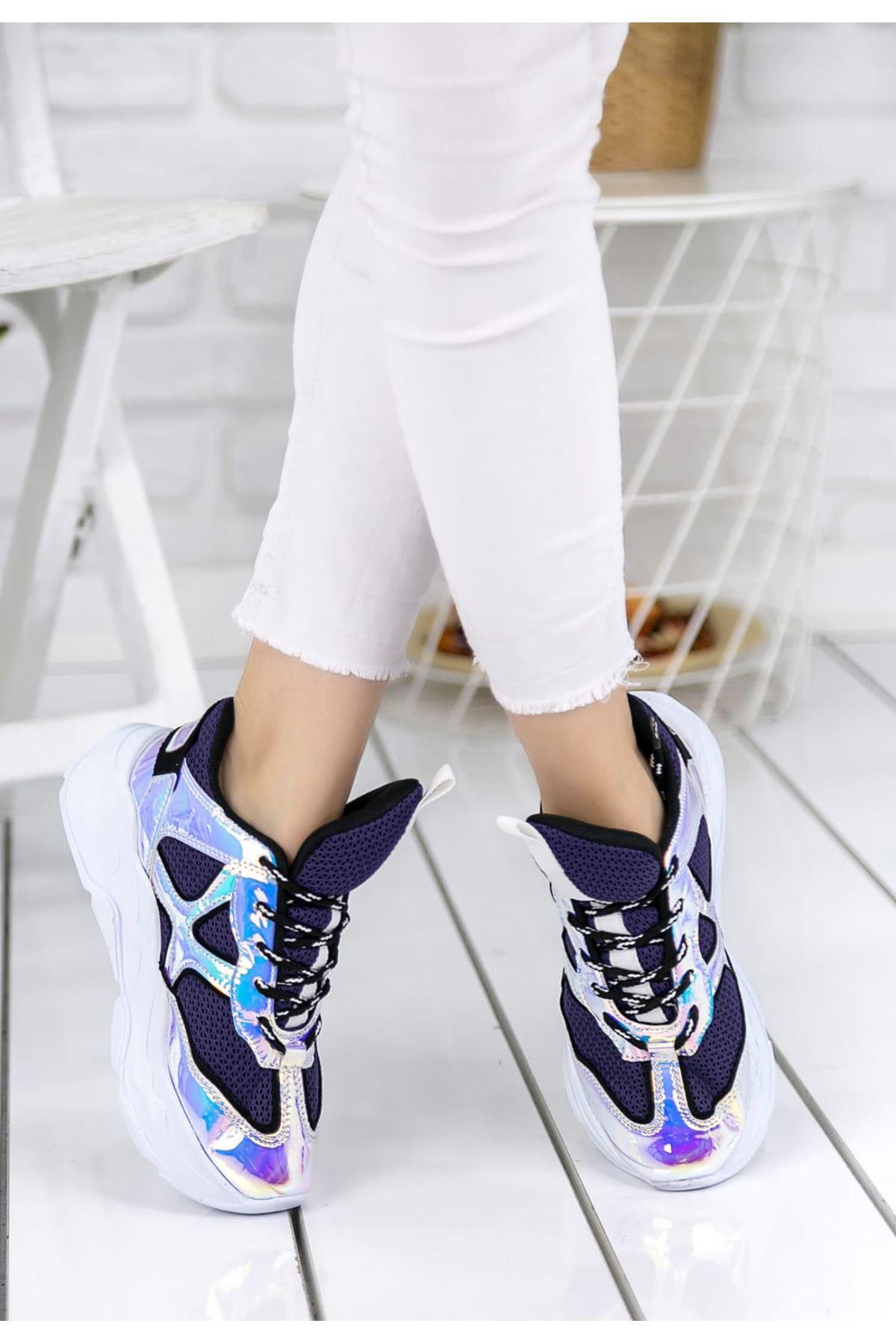 Daisy Mor Hologram Spor Ayakkabı