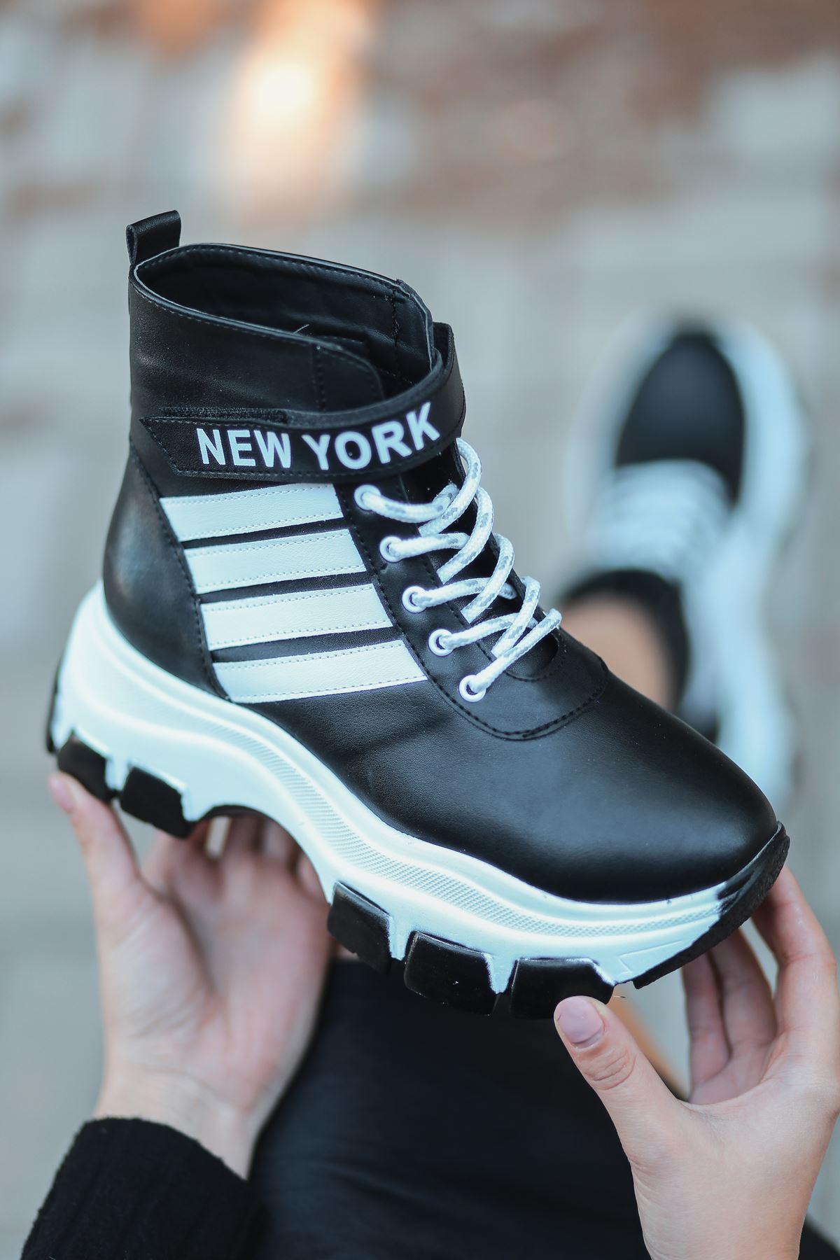 New York  Mat Deri Yazı Detay Spor Ayakkabı Siyah BT