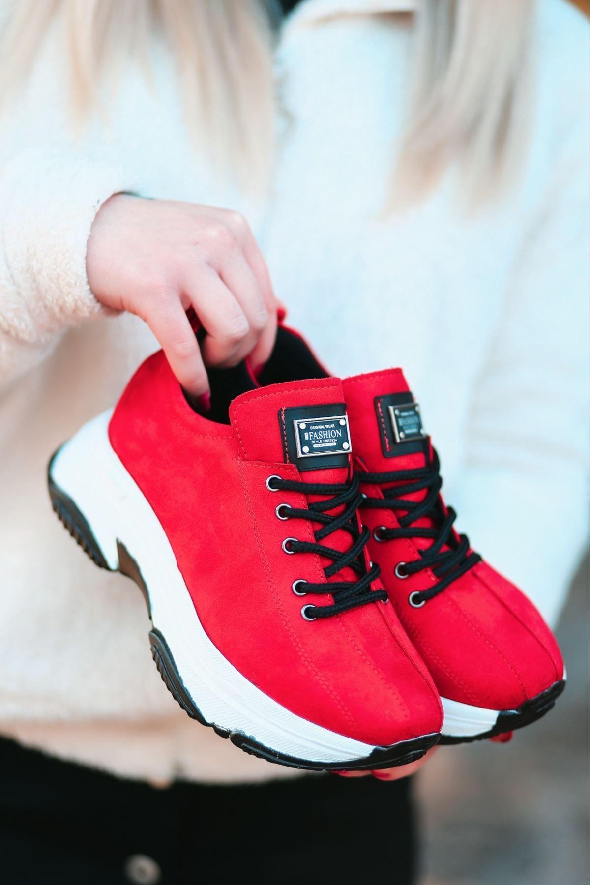 For-501 Mat Deri Bağcıklı Kadın Spor Ayakkabı Kırmızı