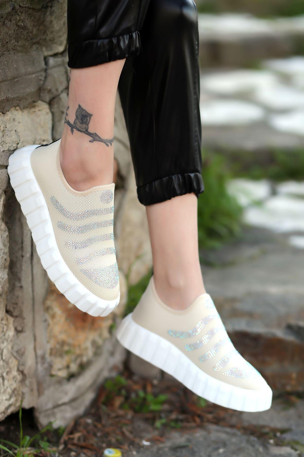 Ezel Taş Detaylı Triko Bej Kadın Spor Ayakkabı