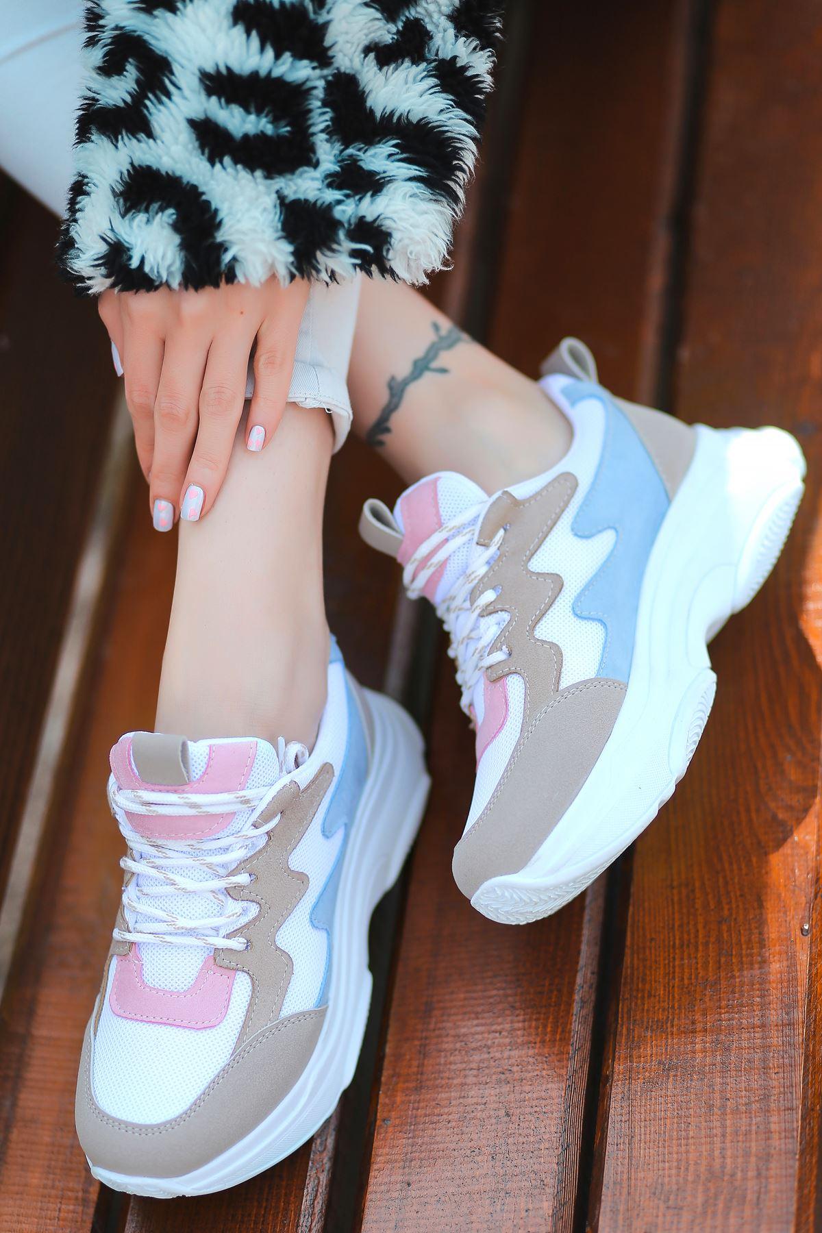 Amaya Bağcık Detaylı Beyaz Krem Mavi Parçalı Fileli Beyaz Kadın Spor Ayakkabı
