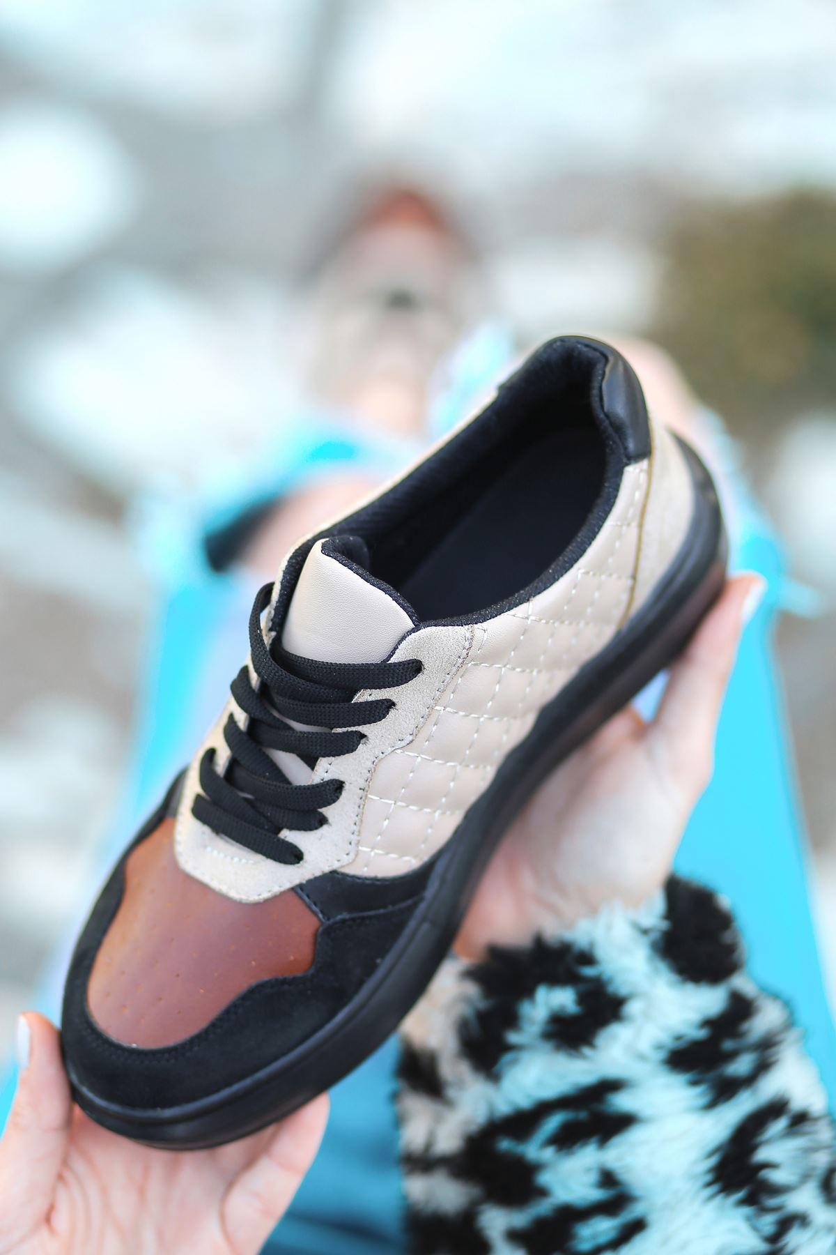 Macao Bağcık Detaylı Siyah Taban Kapitoneli Taba Süet Parçalı Vizon Kadın Spor Ayakkabı